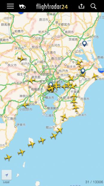 flightradar24の画面