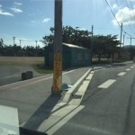 久米島の道路工事看板 わじゃそーいびん
