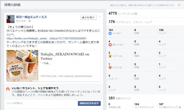 Facebookページのインサイト